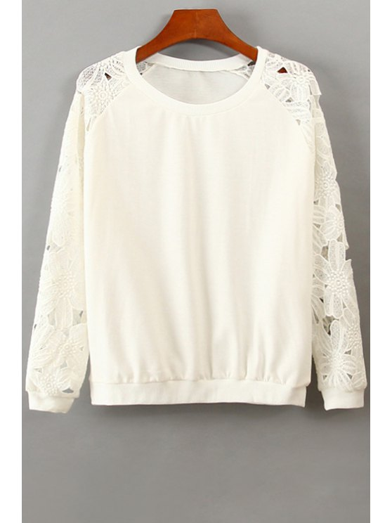 affordable Lace Splicing Openwork Long Sleeve Sweatshirt - WHITE ONE SIZE(FIT SIZE XS TO M)