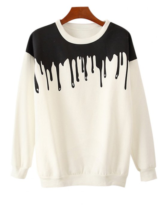 women Color Block Long Sleeve Sweatshirt - WHITE ONE SIZE(FIT SIZE XS TO M)