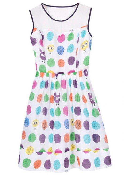 trendy Colorful Polka Dot Print Sundress - COLORFUL S