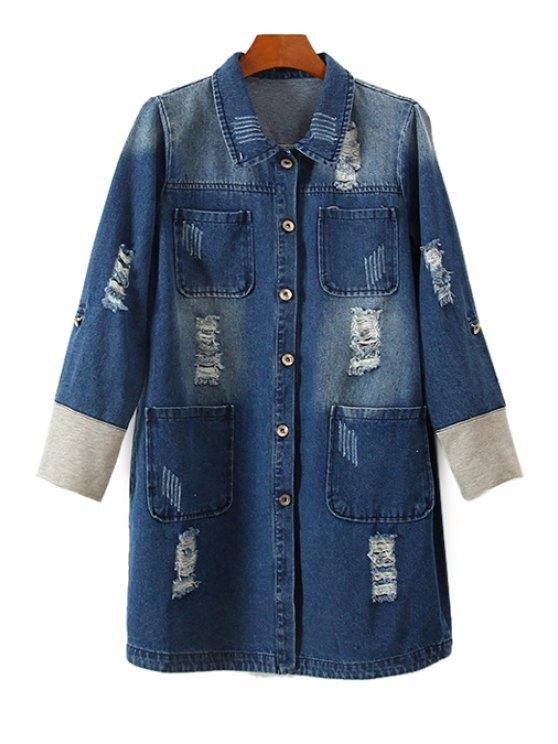 buy Bleach Wash Fray Denim Coat - BLUE S