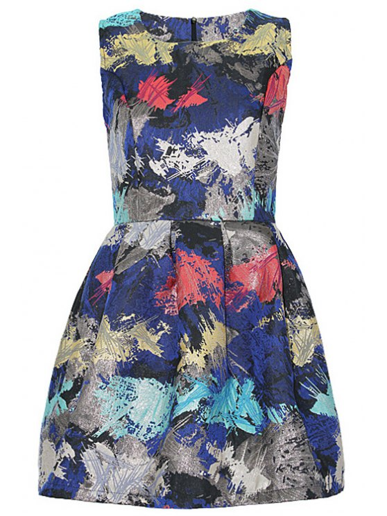 sale Abstract Print A-Line Sundress - COLORMIX S