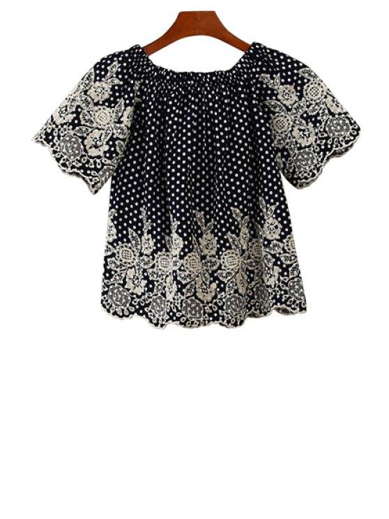 shop Polka Dot Lace Splicing Shirt - DEEP BLUE S