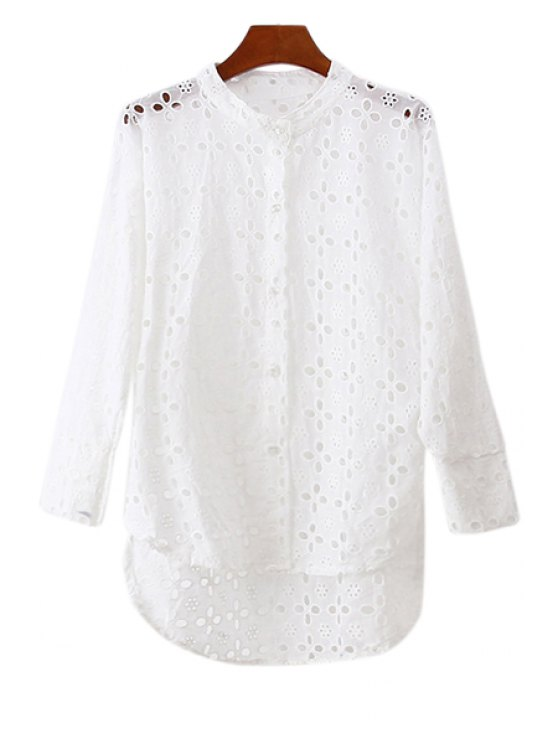 shops Openwork Asymmetrical Long Sleeve Shirt - WHITE ONE SIZE(FIT SIZE XS TO M)