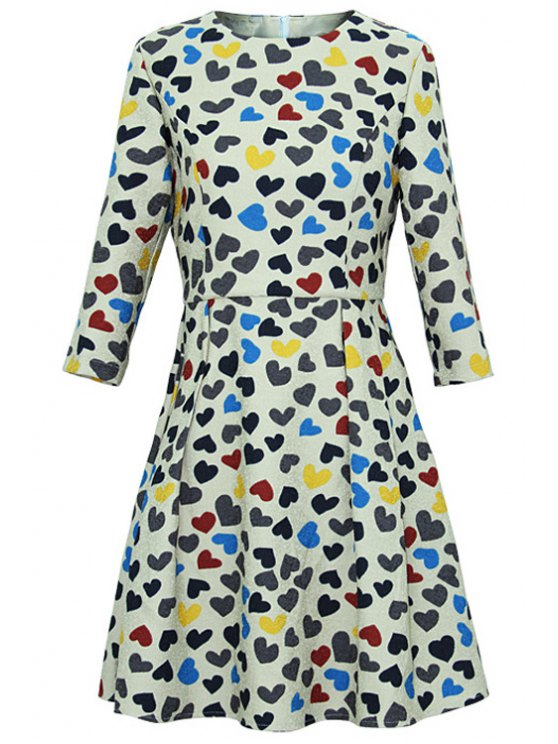 trendy Full Heart Print 3/4 Sleeves Dress - COLORMIX S
