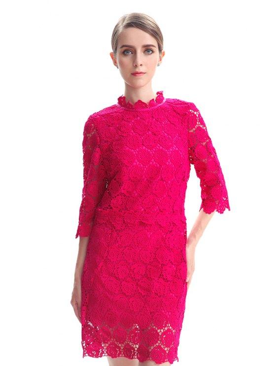 fashion Hollow Half Sleeve Lace Dress - PLUM S