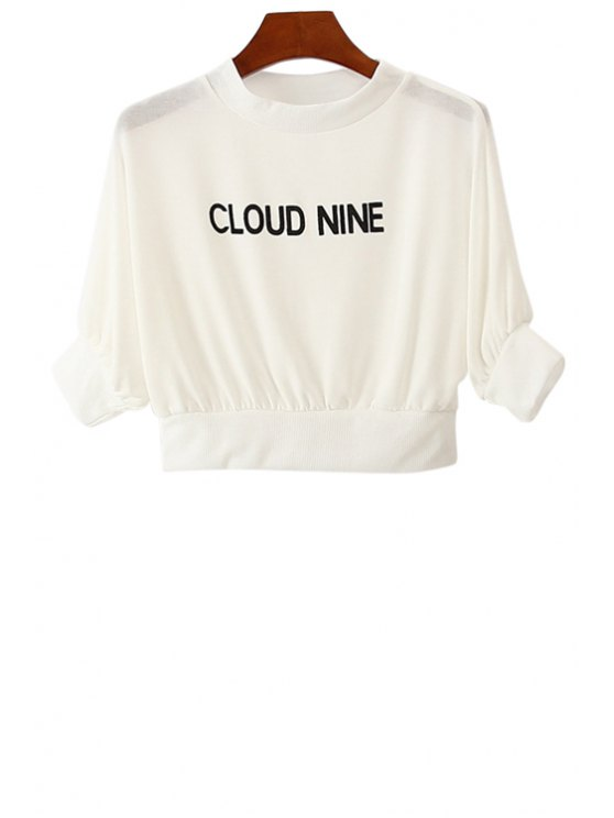 online Letter Print Half Sleeve T-Shirt For Women - WHITE ONE SIZE(FIT SIZE XS TO M)