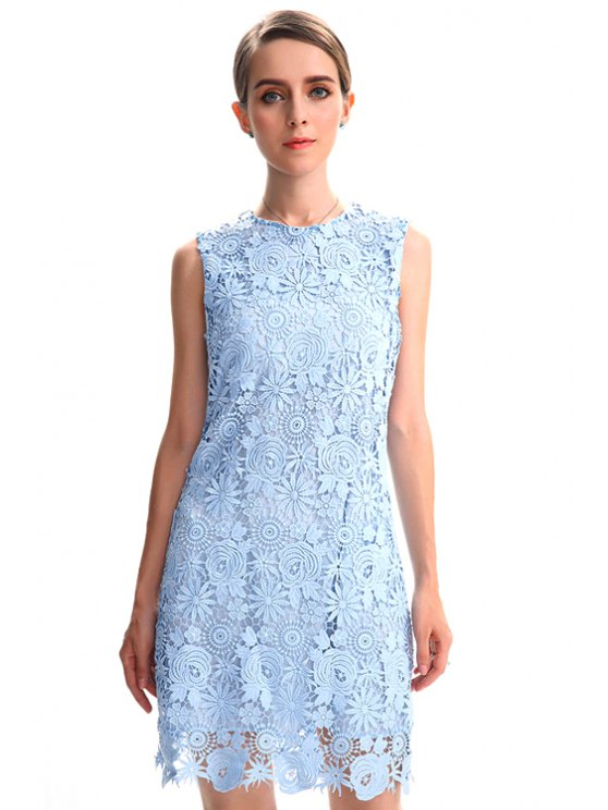 womens Hollow Round Neck Lace Sundress - LIGHT BLUE S
