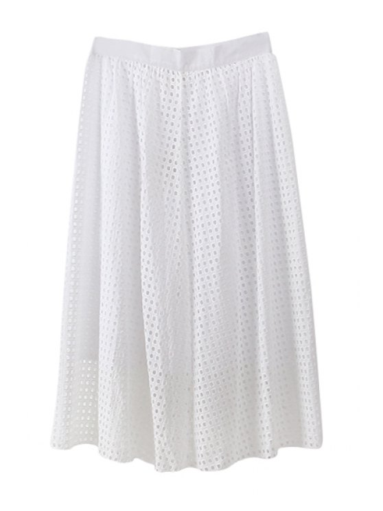 online Openwork Solid Color Long Skirt - WHITE S