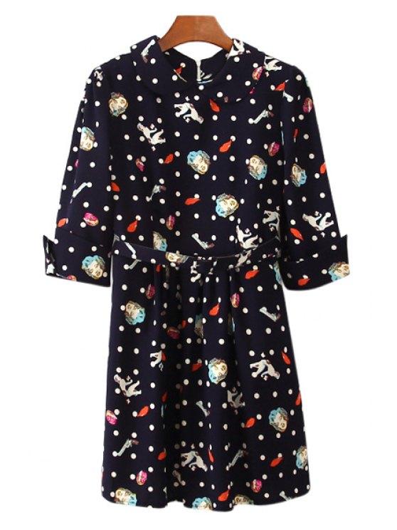 women Figure Print Polka Dot Half Sleeve Dress - BLUE ONE SIZE(FIT SIZE XS TO M)