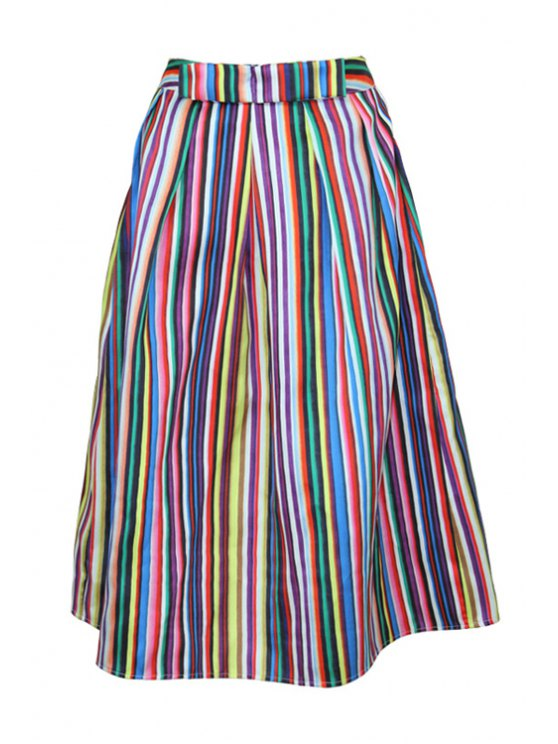 chic Colorful Striped A-Line Skirt - COLORFUL S