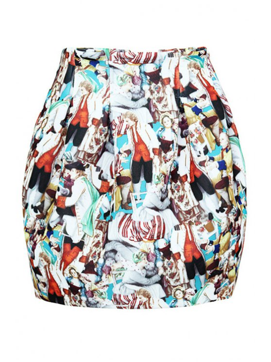 affordable Full Figure Print Bud Skirt - COLORMIX M