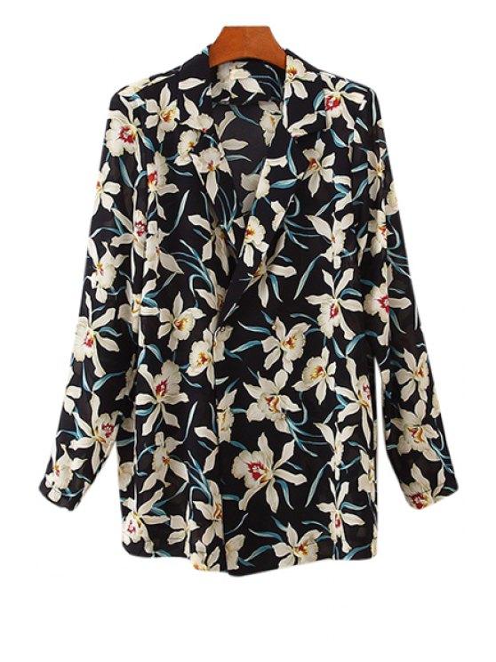 ladies Lapel Floral Print Coat - BLACK ONE SIZE(FIT SIZE XS TO M)
