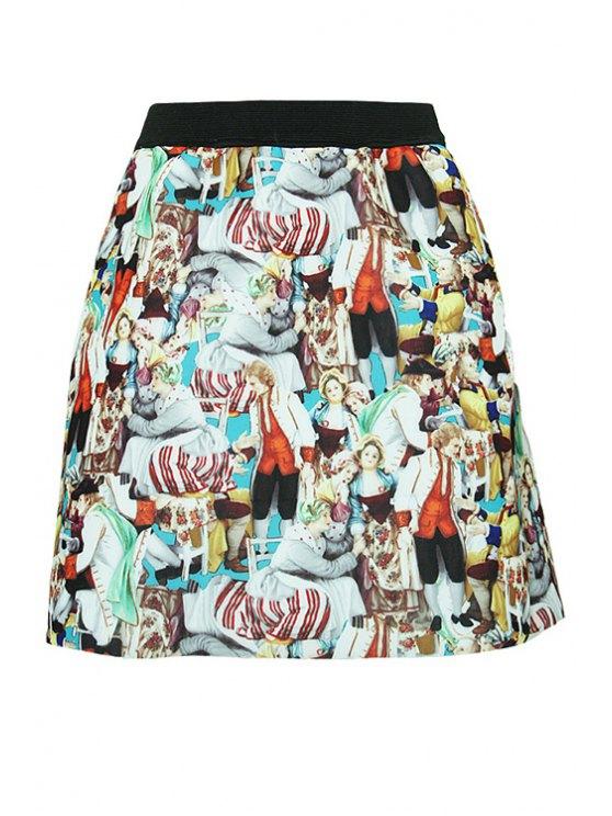 womens Full Figure Print A-Line Skirt - COLORMIX S