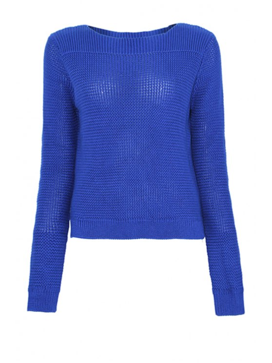 shops Blue Boat Neck Sweater - BLUE ONE SIZE(FIT SIZE XS TO M)