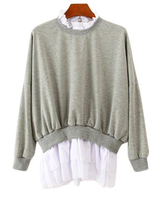 best Ruff Collar Flounce Splicing Sweatshirt - GRAY ONE SIZE(FIT SIZE XS TO M)