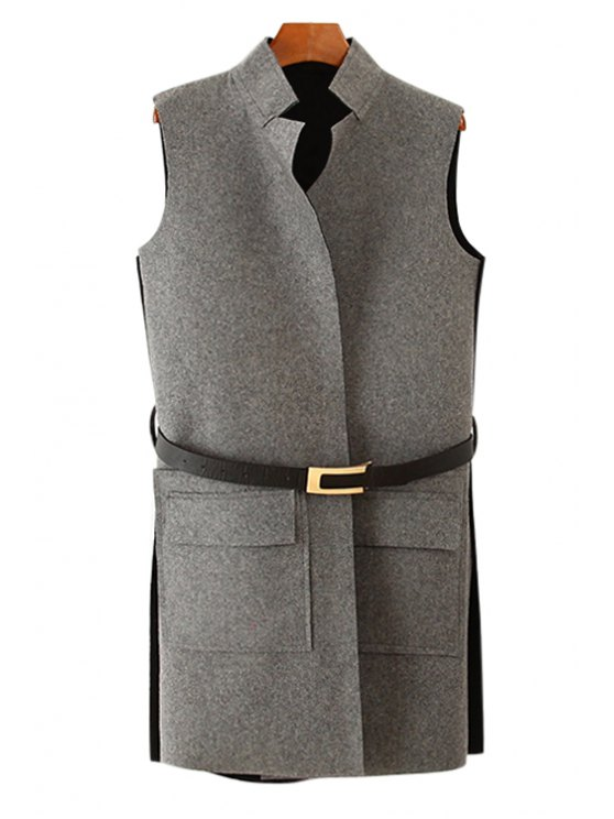 shops Stand-Up Collar Side Slit Waistcoat - GRAY XS