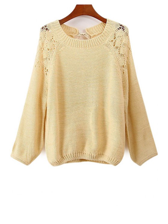 trendy Backless Bowknot Long Sleeve Sweater - APRICOT ONE SIZE(FIT SIZE XS TO M)