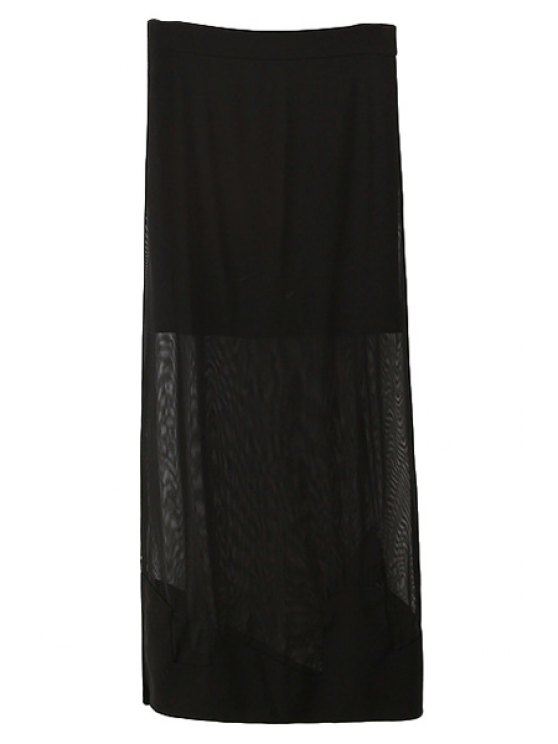 chic Side Slit Voile Zipper Fly Long Skirt - BLACK ONE SIZE(FIT SIZE XS TO M)