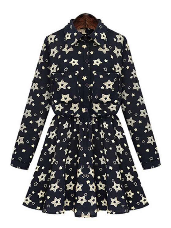 lady Full Star Print Long Sleeve Dress - BLACK 3XL