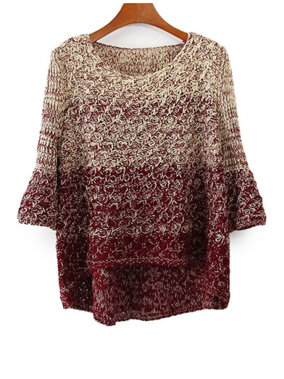 fashion Ombre Asymmetrical Long Sleeve Sweater - PLUM ONE SIZE(FIT SIZE XS TO M)