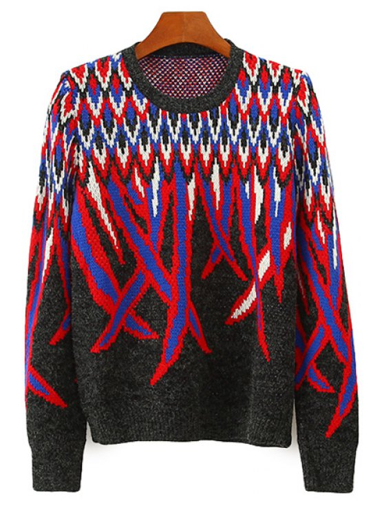 unique Reed Pattern Long Sleeve Sweater - COLORMIX ONE SIZE(FIT SIZE XS TO M)