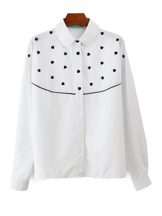 latest Heart Buttons Embellished Shirt - WHITE ONE SIZE(FIT SIZE XS TO M)