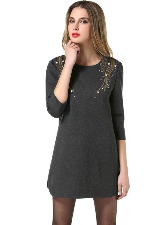 lady Beaded Sequins 3/4 Sleeve Dress - DEEP GRAY L