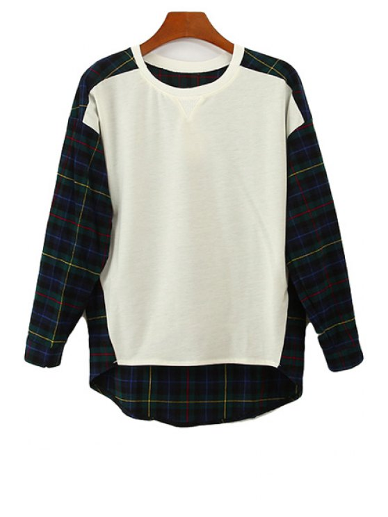outfit Plaid Color Block Splicing T-Shirt - GREEN ONE SIZE(FIT SIZE XS TO M)