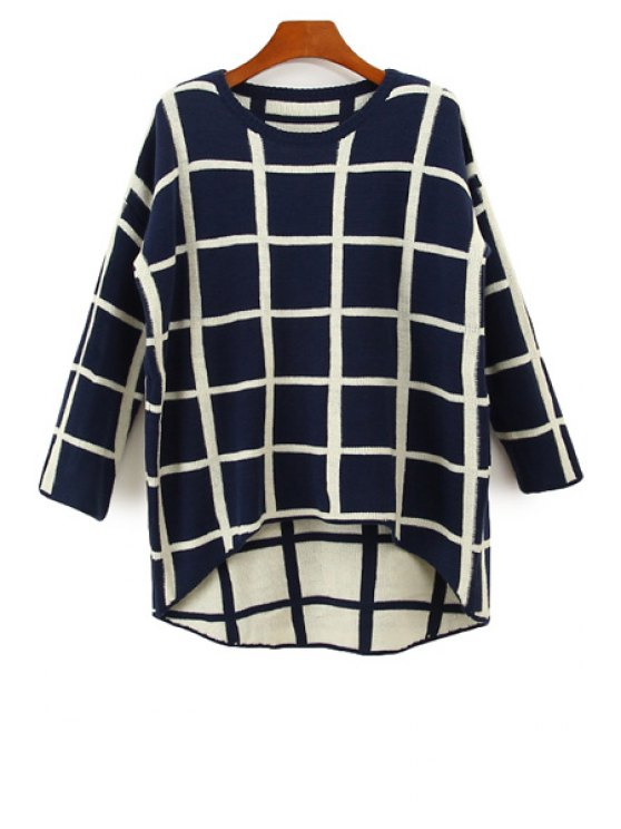 sale Plaid Asymmetrical Long Sleeve Sweater - BLUE AND WHITE ONE SIZE(FIT SIZE XS TO M)