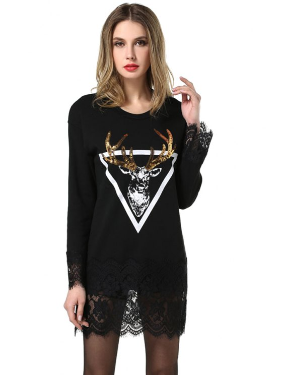 lady Deer Print Lace Splicing Dress - BLACK L