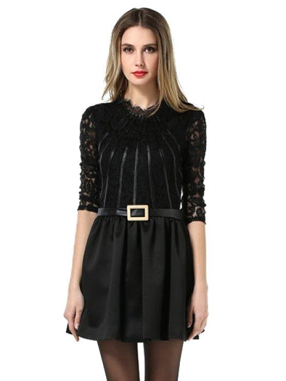 womens Lace Splicing Black Dress - BLACK L