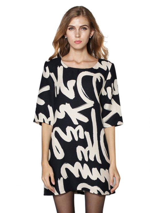 online Letter Print Half Sleeve Dress - BLACK M