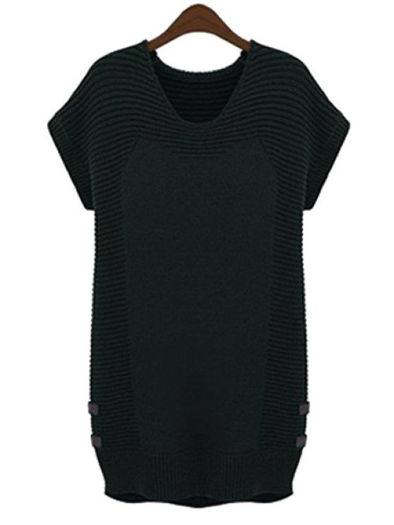 shop Solid Color Short Sleeve Sweater Dress - BLACK L