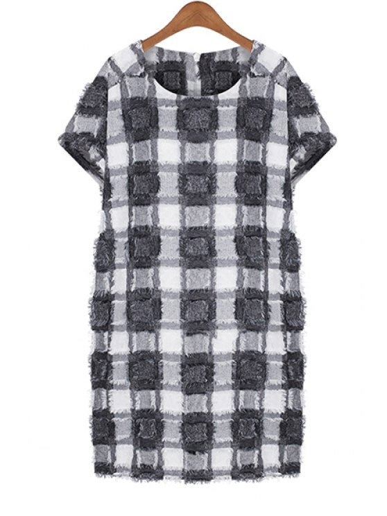 chic Checked Pattern Short Sleeve Dress - CHECKED L