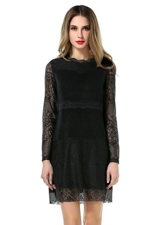 shops Black Lace Splicing Dress - BLACK L