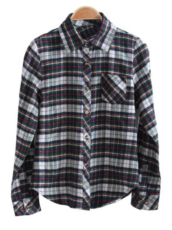 online Plaid Color Block Long Sleeve Shirt - COLORMIX M