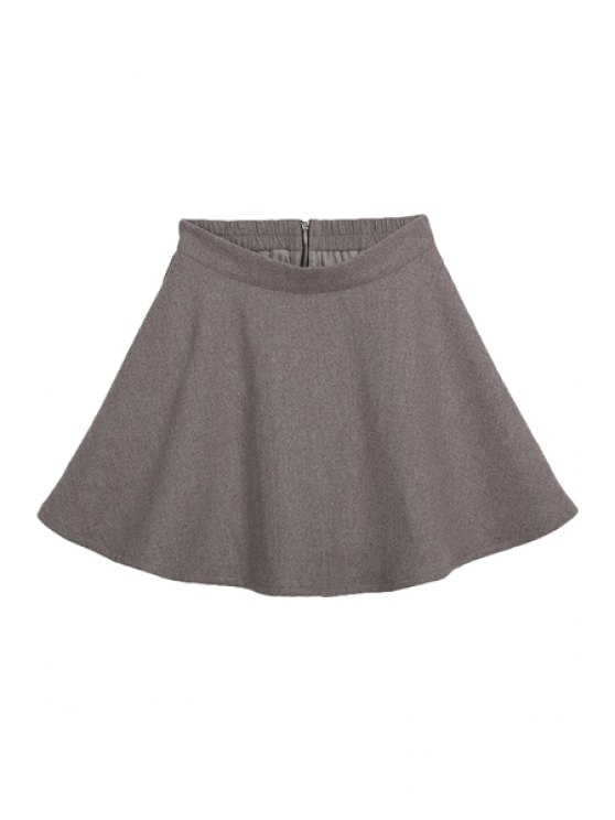 online A-Line Zipper Fly Skirt - CAMEL S