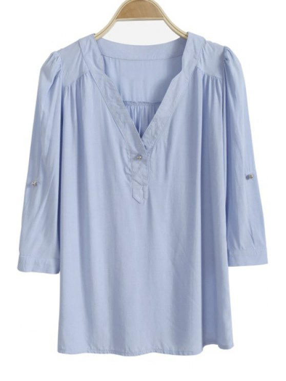 outfit Solid Color Ruffle 3/4 Sleeve Shirt - LIGHT BLUE S