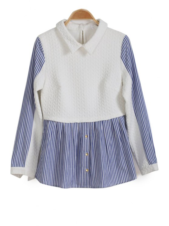 shop Stripe Splicing Long Sleeve Blouse - WHITE S