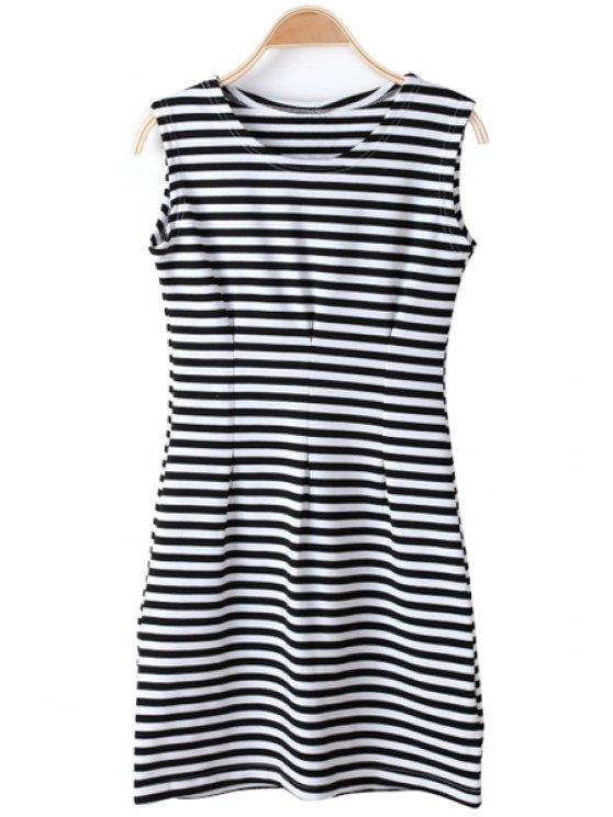 women Stripe Sleeveless Dress - WHITE AND BLACK M