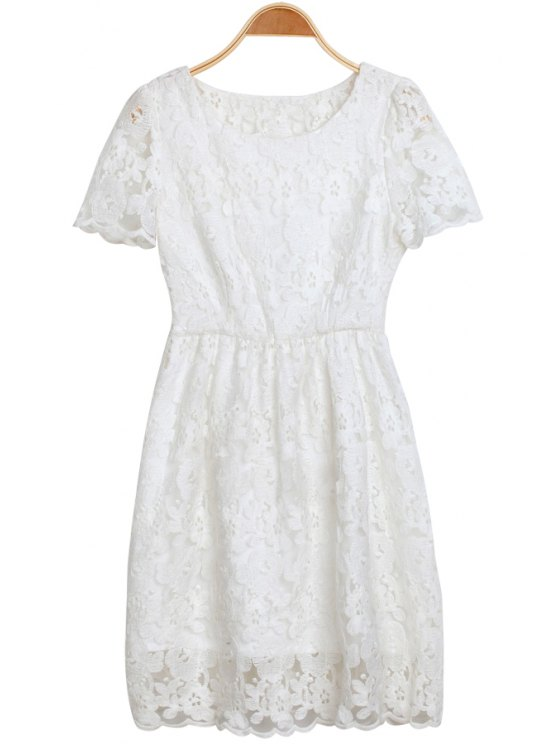 hot Solid Color Lace Openwork Dress - WHITE S