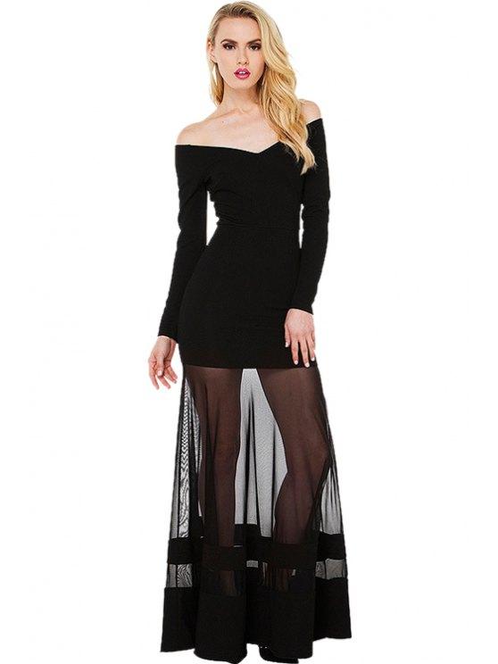 best Slash Neck Voile Splicing Maxi Dress - BLACK XS