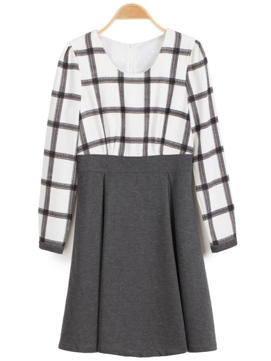 new Plaid Splicing Long Sleeve Dress - CHECKED S