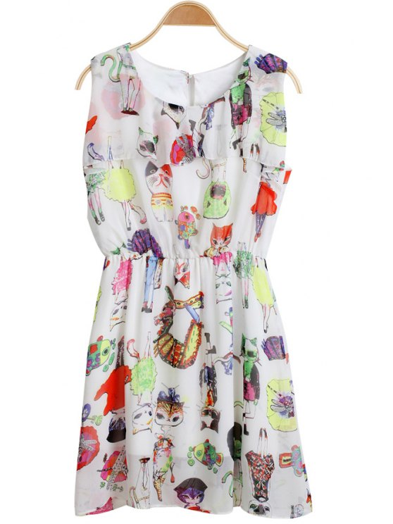 women Cartoon Print Chiffon Dress - WHITE M