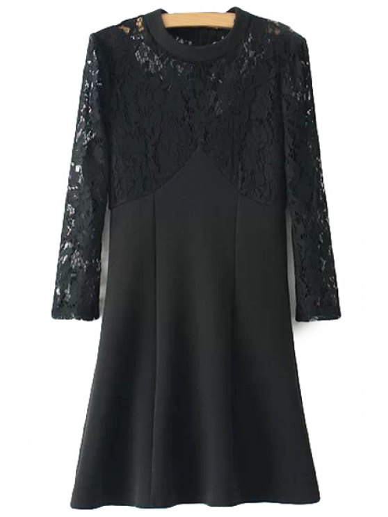 women's Long Sleeves Lace Splicing Dress - BLACK S