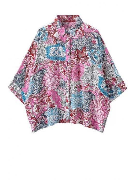 shops Retro Floral Half Sleeve Shirt - COLORMIX S