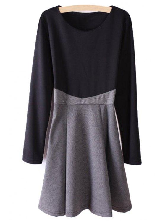 shop Color Block Splicing Long Sleeve Dress - BLACK AND GREY S