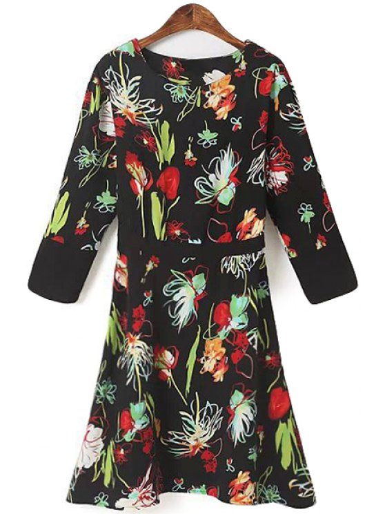 womens Floral 3/4 Sleeve A-Line Dress - BLACK S