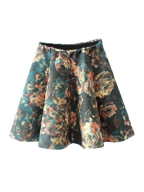 lady Floral Print Flouncing Skirt - COLORMIX S