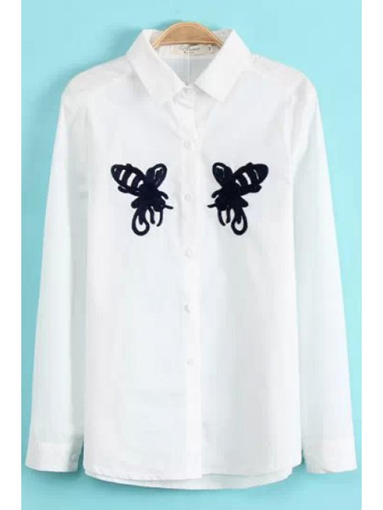 women's Butterfly Embroidery Long Sleeve Shirt - WHITE M